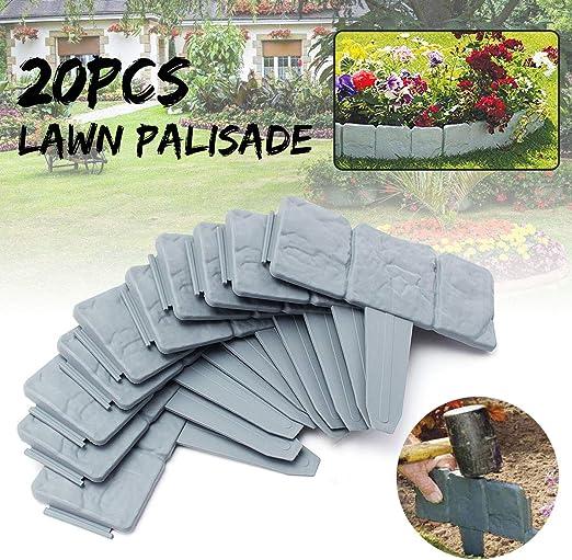 KING DO WAY Valla para jardín Bordura de plástica Diseño de piedra: Amazon.es: Jardín
