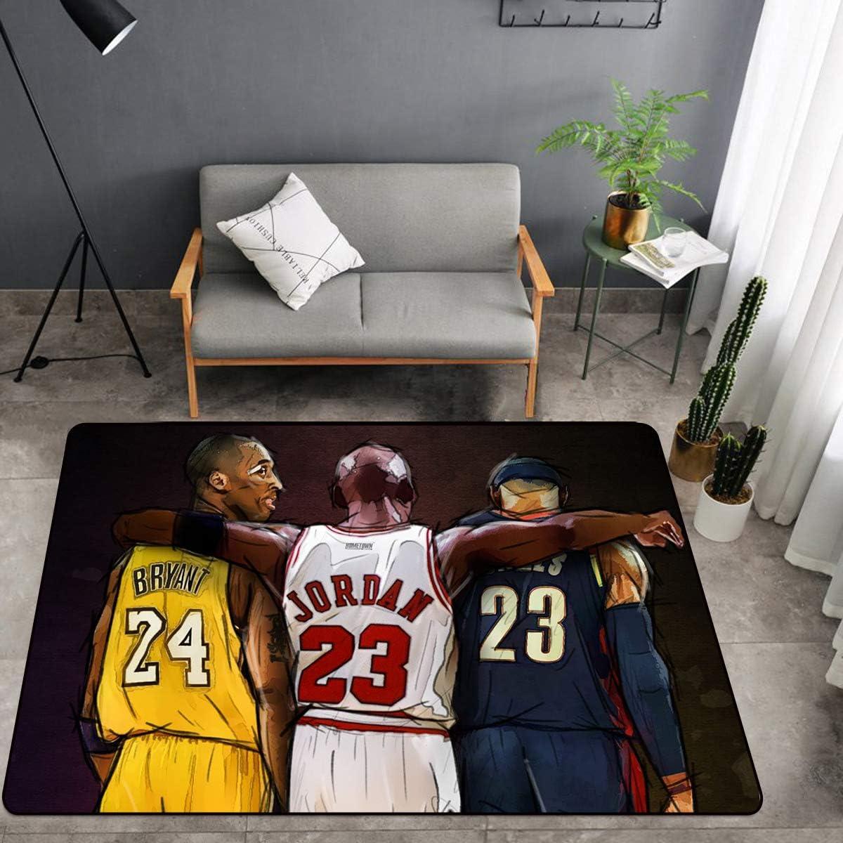 USA Basketball NBA Stars 3D Print Large Area Rugs for Boys Girls Kids Baby Bedroom, Polyester Fiber Non-Slip Home Decor Carpets, Crystal Velvet Sofa Floor Mat for Living Room