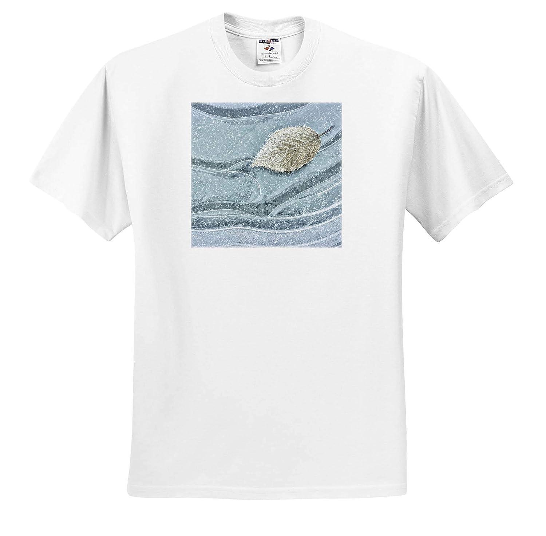 ts/_315093 Washington State USA 3dRose Danita Delimont Frosty Maple Leaf on ice Seabeck Winter - Adult T-Shirt XL