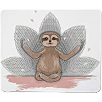 Mousepad Sloth,Little Cute Sloth Meditation Lotus Flower Yoga Asana Positions Motivational Fun,Stitched Edge Non Slip Rubber