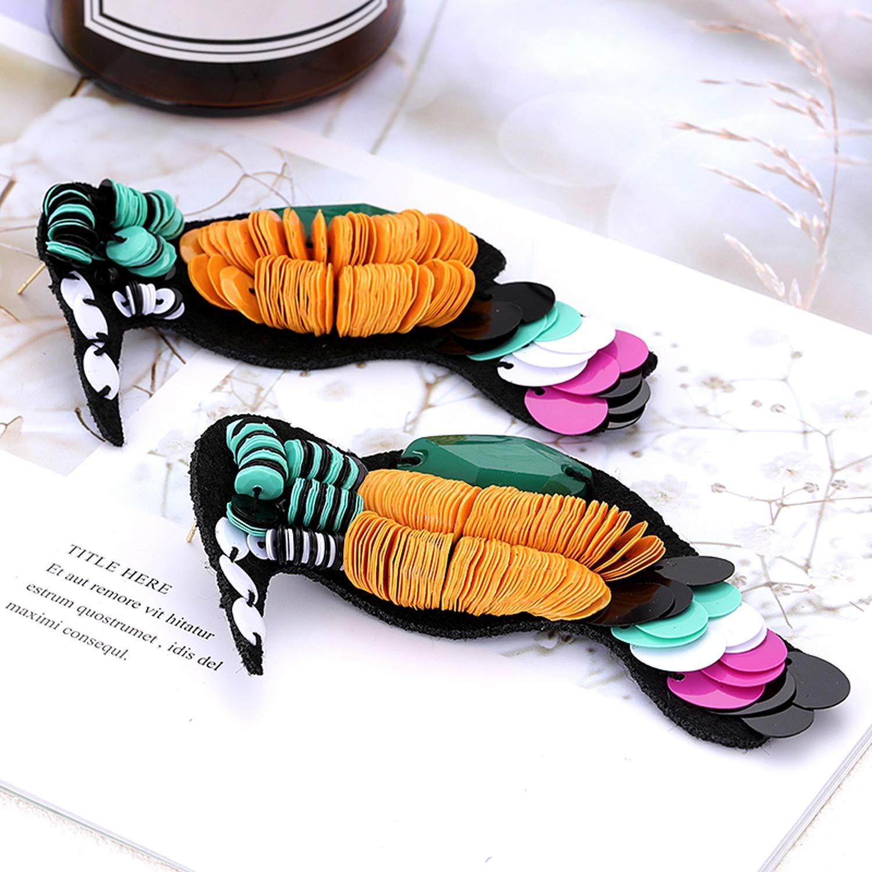 Ethnic Handmade Stud Earring for Girl Statement Long Birds Parrot Stud Earring Women Fashion Jewelry