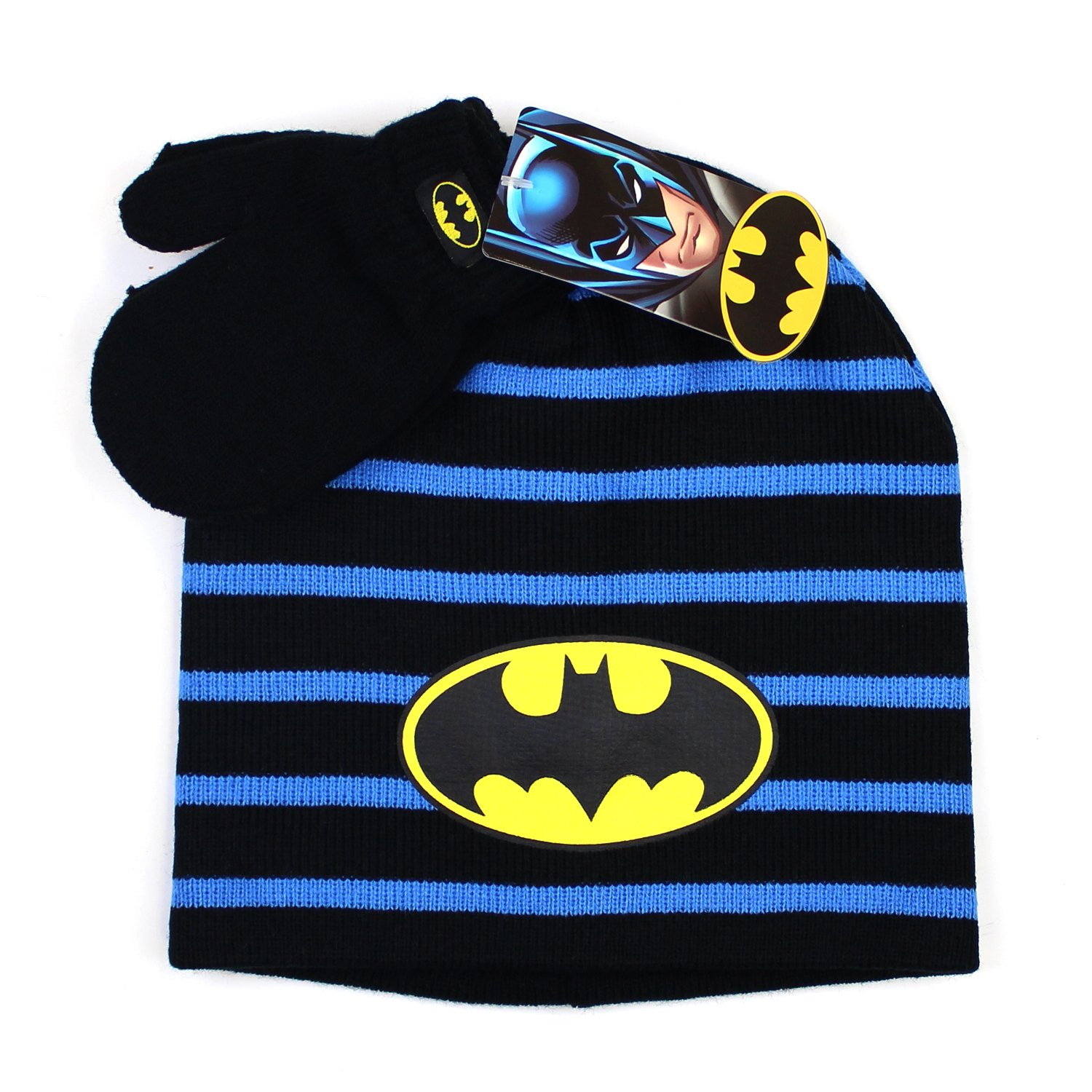 KIDS COMIC SUPERHERO LICENSED BEANIE BOYS TODDLER WINTER HAT & MITTEN SETS