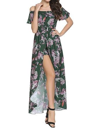 176d69cd0fab Zeagoo Women s Off Shoulder Multicolor Floral High Low Maxi Romper Dress