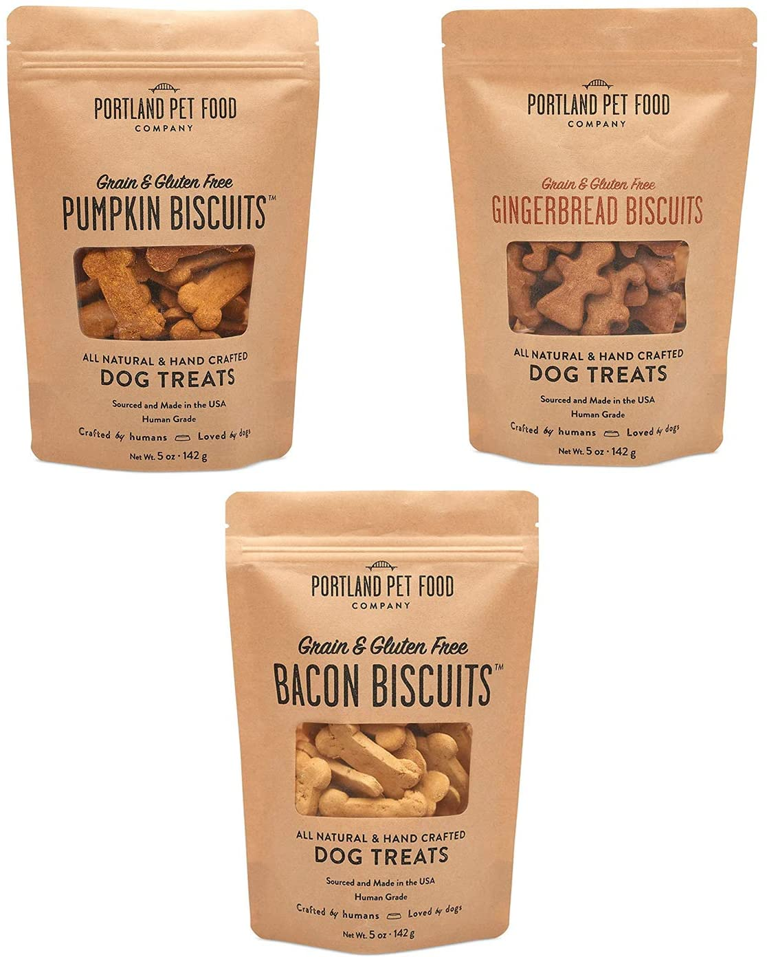 Portland Pet Food Company All-Natural Dog Treat Biscuits – Handcrafted Grain-Free, Gluten-Free, USA Sourced Baked & Made, Human-Grade, All Natural Limited Ingredients, 5 Ounces