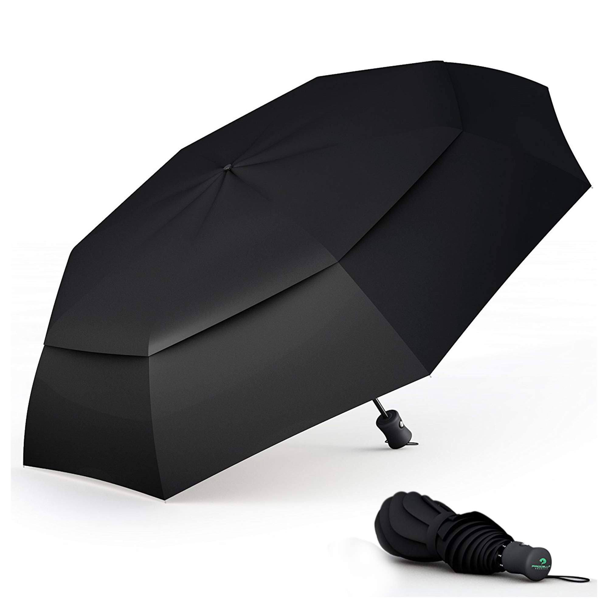 Procella Windproof Travel Umbrella - Small Collapsible and Lightweight - Large Cover When Open - Best for Kids Mens Womens