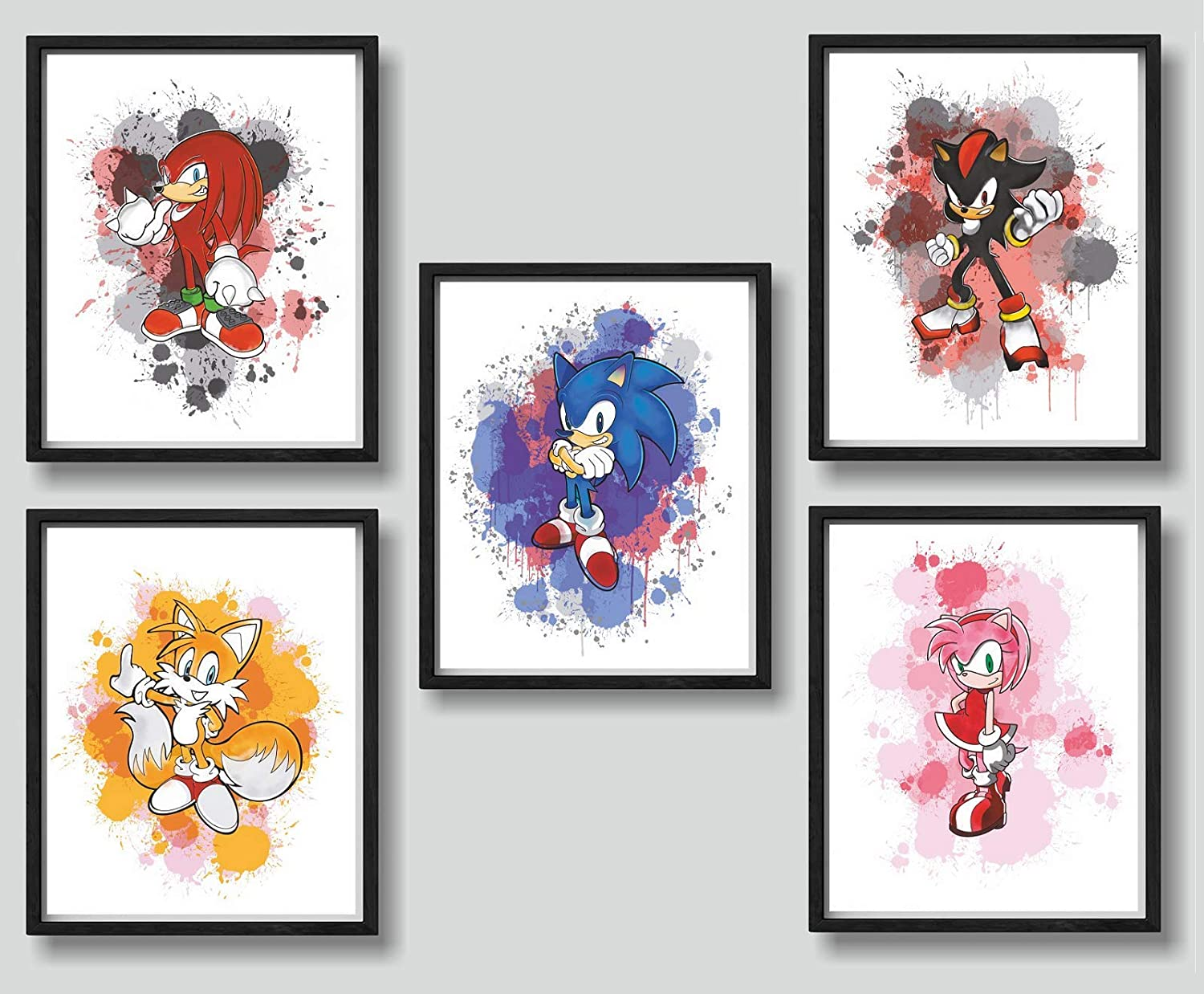 Print A To Z - Sonic The Hedgehog Movie Watercolor Prints, Sonic Watercolor Posters, UNFRAMED Set of 5 (8x10 inches), Sonic Poster For Kids, Sonic Forces Wall Art Decor, Sonic Bedroom Decor for Boys, Sonic Decorations for kids, Sonic Decorations For Birthday Party, Posters For Boys Room, Posters For Girls Room,