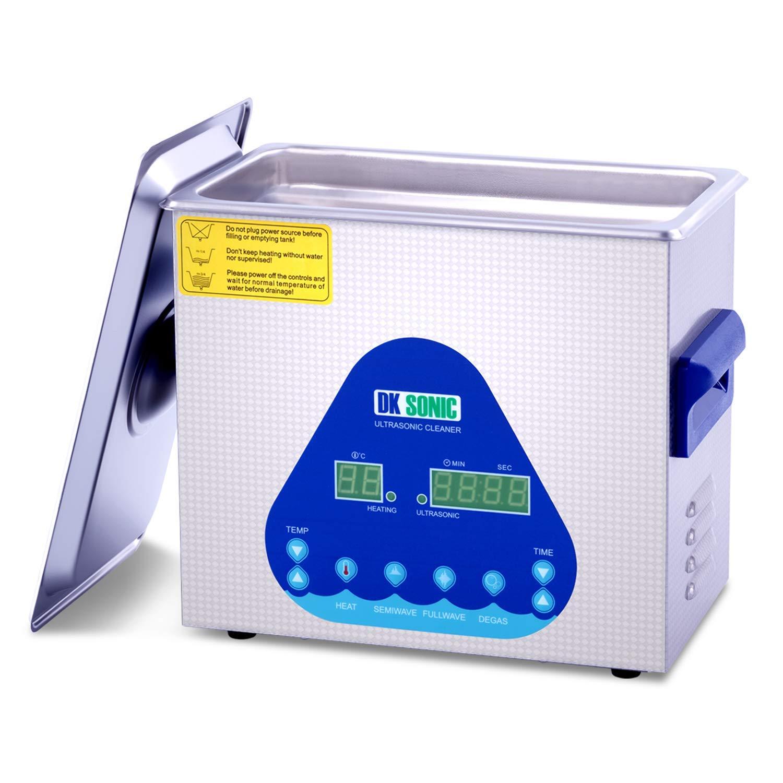 Digital Ultrasonic Gun Cleaner Heated - DK SONIC 3L Ultrasonic Denture Cleaner with Heater Basket for Parts Jewelry Carburetor Eyeglass Ring Fuel Injector Dental Circuit Board Carb 28/40KHz