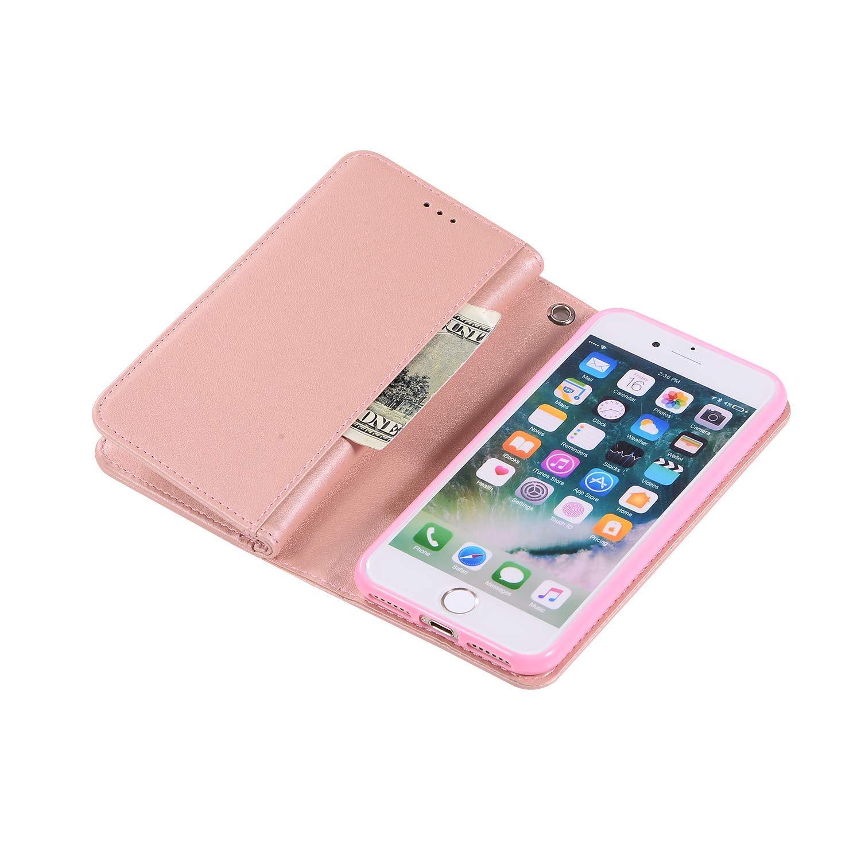 9 Ranuras para Tarjetas Bling Carcasa Compatible con iPhone 8 Plus iPhone 7 Plus Funda Billetera Cuero Portatarjetas 9 Wallet Bling Brillo Brillante Zipper Flip Wallet PU Piel Case-Oro
