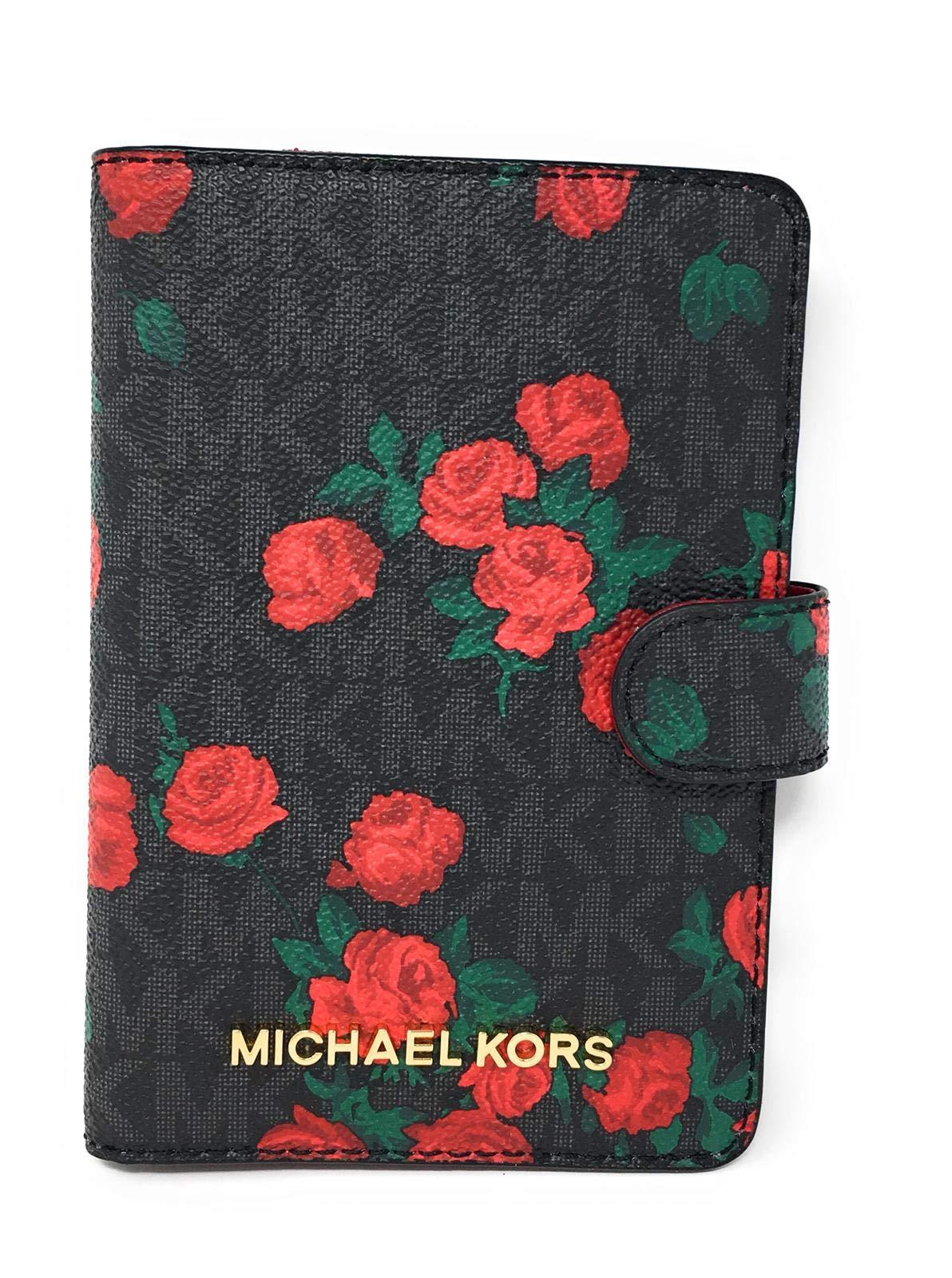 Michael Kors Jet Set Travel Passport Case Wallet (Black PVC Flowers)