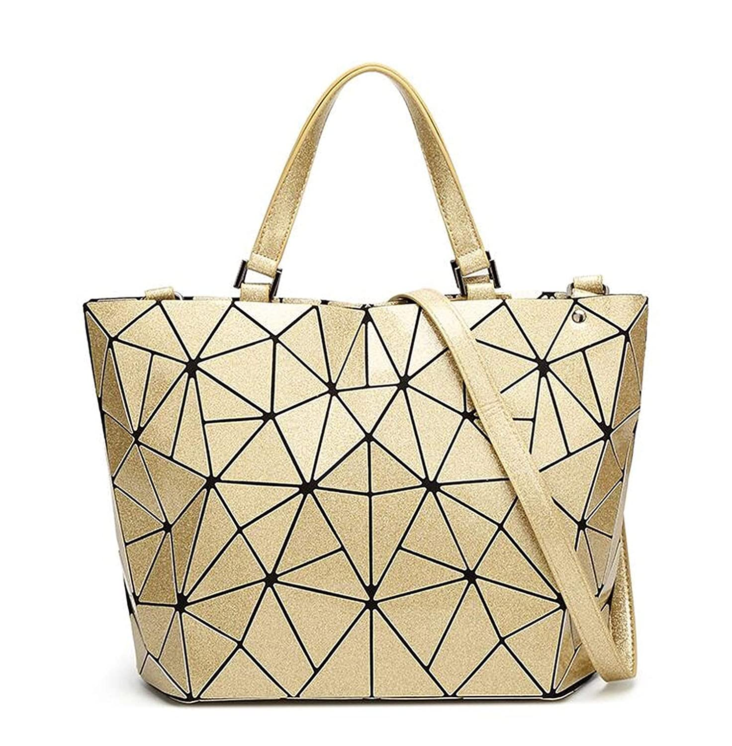 55a49fccc1bd Amazon.com: Maelove Luminous bag Women Geometry Diamond Tote Quilted ...