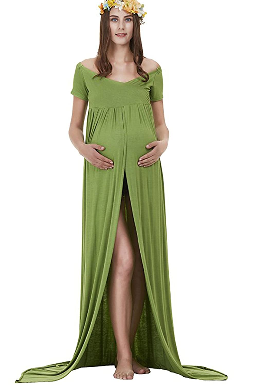 Maternity Gowns Photography Off Shoulder and Split Front Dress for ...