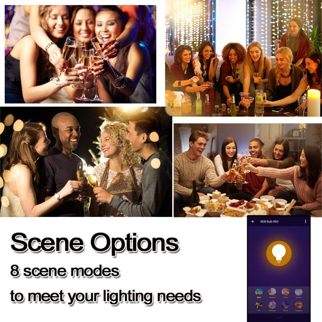 No Hub Required Smartphone Controlled Multicolored Color Changing Lights Wi-Fi Smart LED Light Bulb Dimmable 60W Equivalent Work with  Alexa 7W