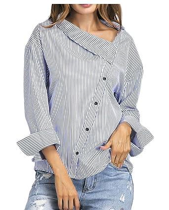 57338677d249cb ainr Women Stylish Sexy Pinstripe Button up Shirts Long Sleeve Dress Shirts  - - US Large: Amazon.co.uk: Clothing