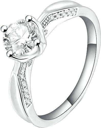 Gnzoe Fashion Jewelry Gold Plated Women Finger Rings Elegant Rose Shape Wedding Band CZ Zircon