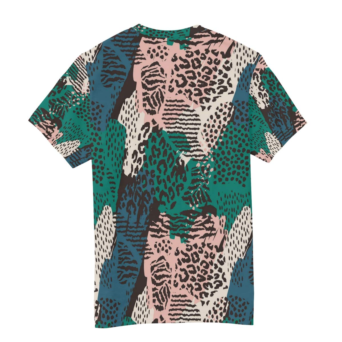 Horatiood Huberyyd Tropical Leaves Leopard Print Mens T Shirts Graphic Funny Body Print Short T-Shirt Unisex Pullover Blouse