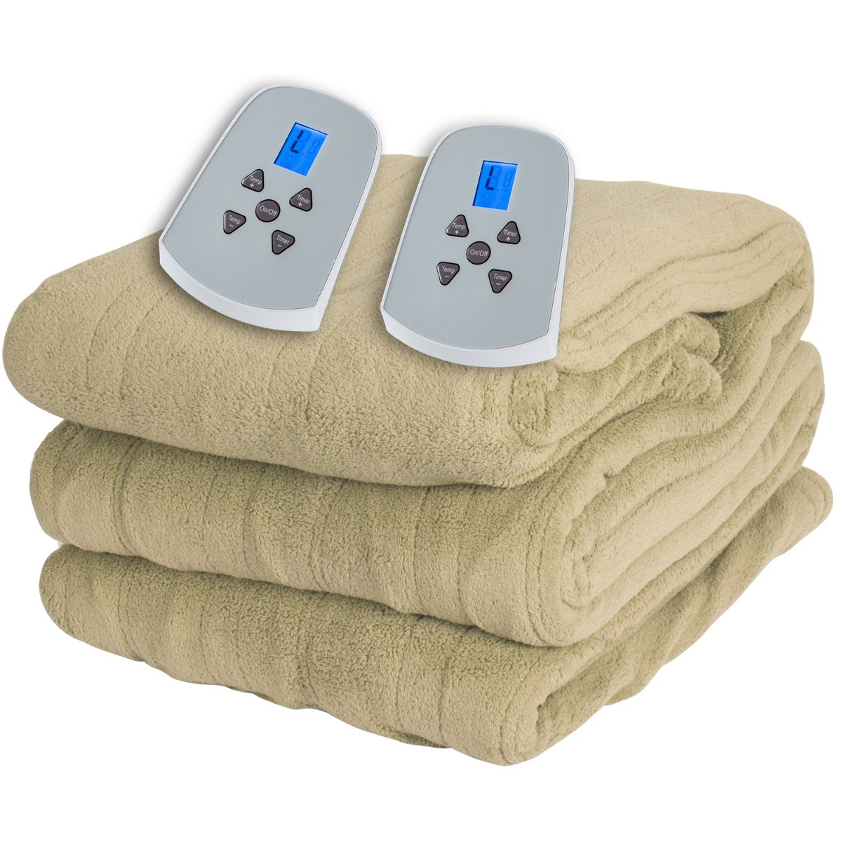 King Size Microplush Electric Heated Blanket with dual controllers, Beige by Westerly