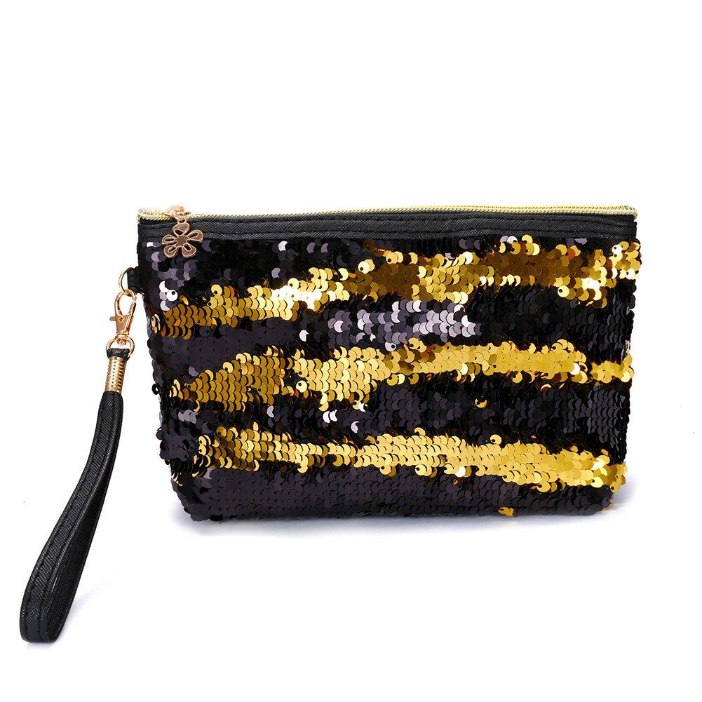 Westeng Sac cosmétique avec Paillettes Trousse de Maquillage Sac à Main Zippée Multifonctionnel Porte-Monnaie pour Femme
