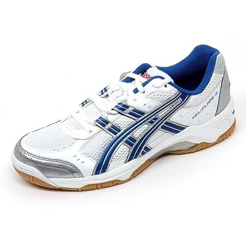 B9914 sneaker uomo ASICS GEL FLARE 2 scarpa bianco/argento/blu shoe man