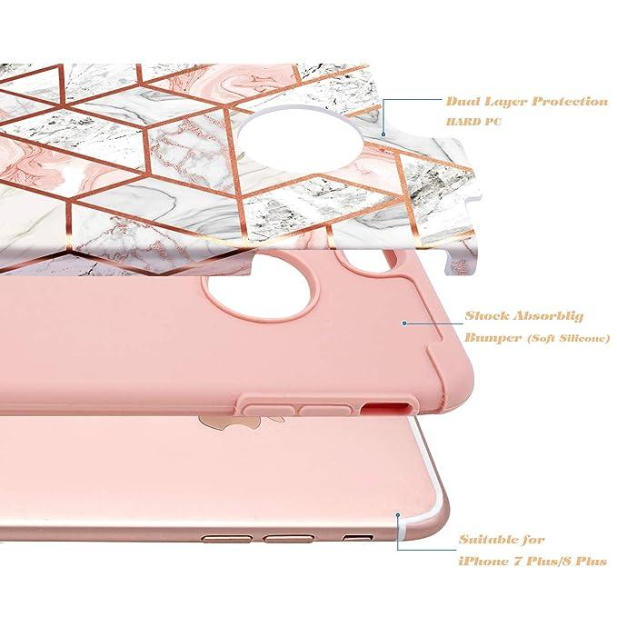 iPhone 8 Plus Case, iPhone 7 Plus Case, Fingic Rose Gold Marble Design Shiny Glitter Bumper Hybrid Hard PC Soft Rubber Anti-Scratch Shockproof ...