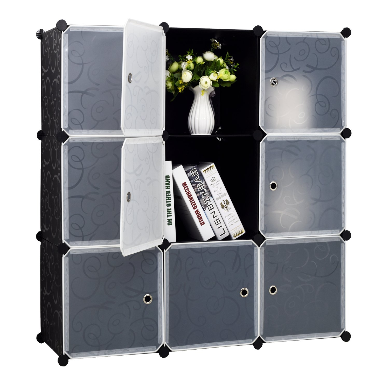 9-Cube Storage DIY Cube Organizer Cabinet 3-Tier Bookcase Storage Cube Organizer Closet with Door