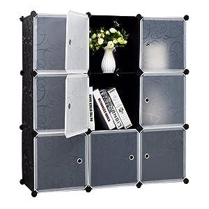 9-Cube Storage DIY Cube Organizer Cabinet 3-Tier Bookcase Storage Cube Organizer Closet with Door