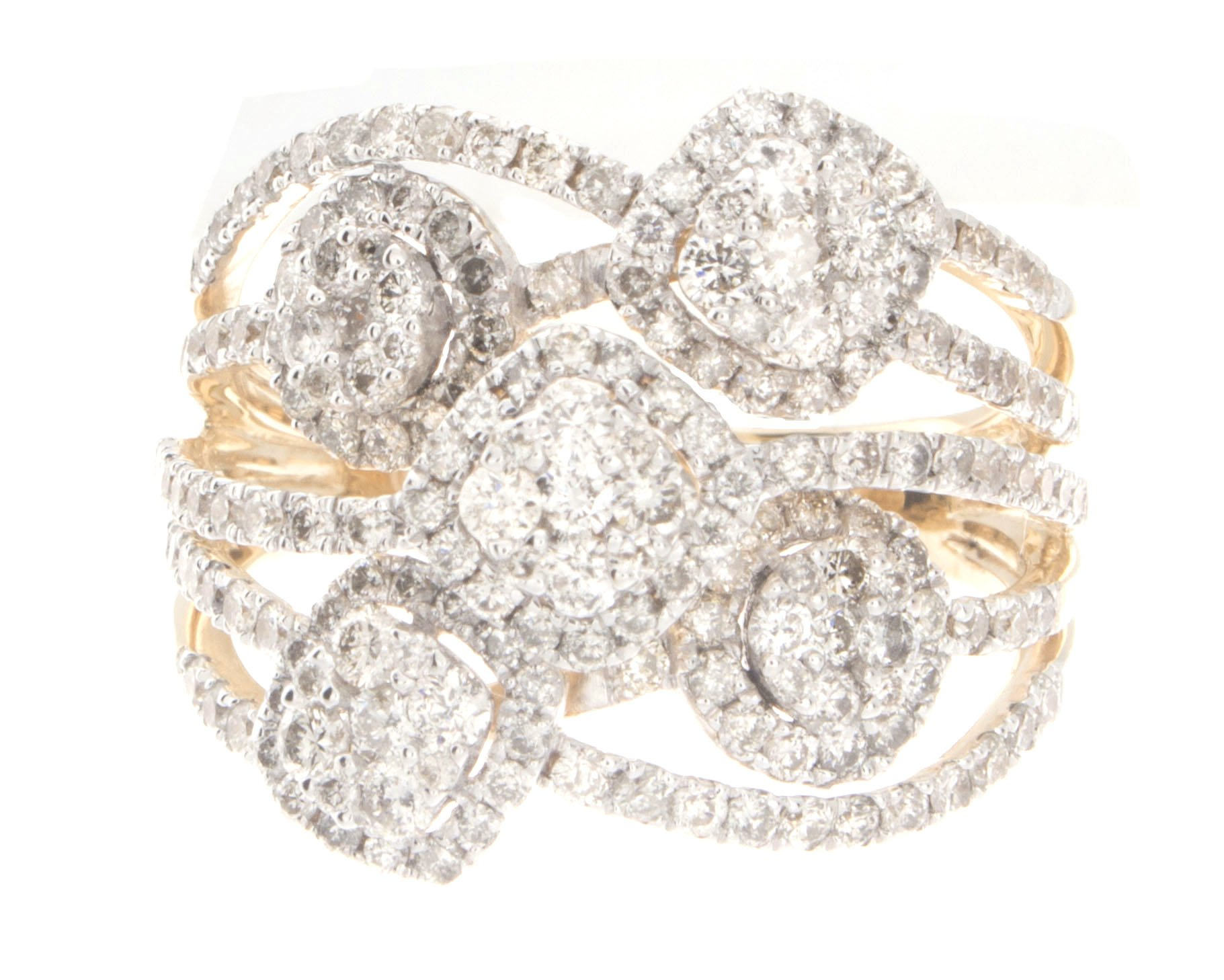 1.67ctw Excellent Cut Round Diamond (H-1 color, i1 - i2 clarity) in 14k Gold Fashion Ring