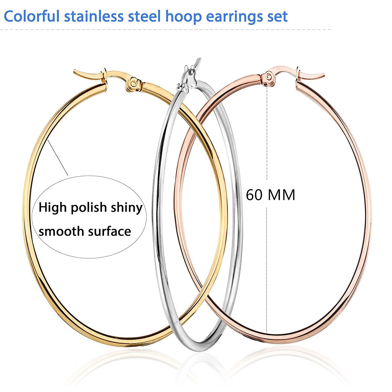 Mocalady Jewelers Womens 3 Pairs 3 Colors Hoop Earrings Stainless Steel Jewelry Ear Loop 60 MM