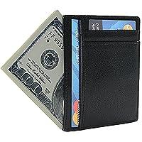 Zando Men Credit Card Wallet Black Genuine Leather Card Case RFID Blocking Card Holder Slim Money Clip Front Pocket