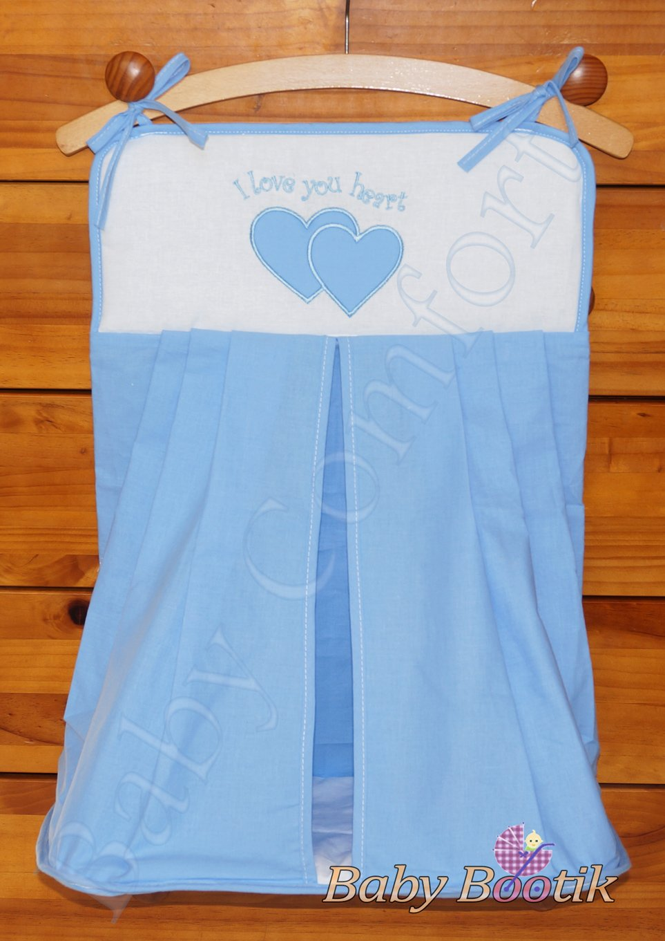 Nappy Stacker/Diaper Bag Match Baby Nursery COT or COT BED LOVE YOU HEART - EMBROIDERY BLUE Babycomfort