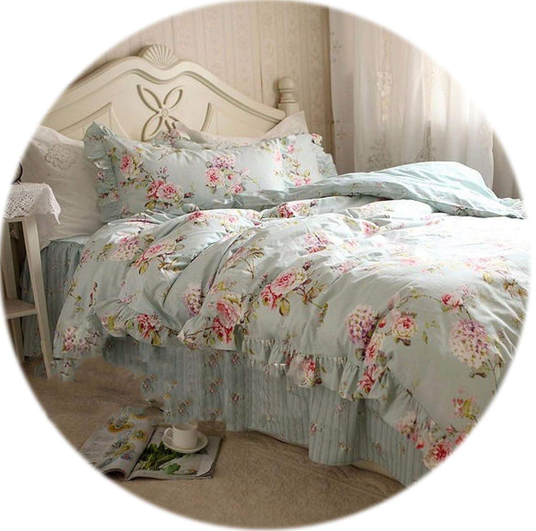 Memoirs- ヨーロッパの花模様寝具セット 素朴な掛け布団カバー寝具 しわのあるベッドスプレッド ベッドシーツ ウェディング枕カバー ベッド服 California King B07Q1HWZ59 Flower With Stripe California King