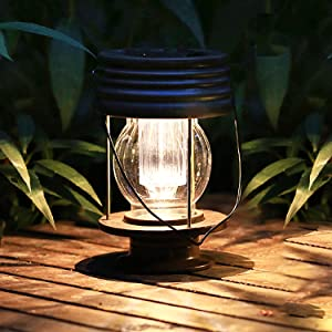 pearlstar Solar Lantern Outdoor Hanging Solar Light with Handle for Pathway Yard Patio Decor Waterproof Outside Table Lamp, 30 Lumen (8.3