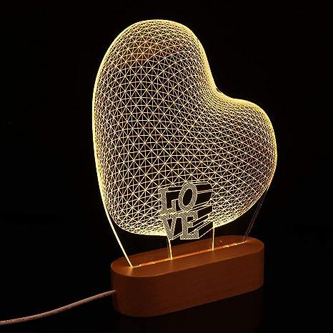 Uonlytech Lámpara de Mesa de Ilusión de Luz Nocturna en Forma de ...