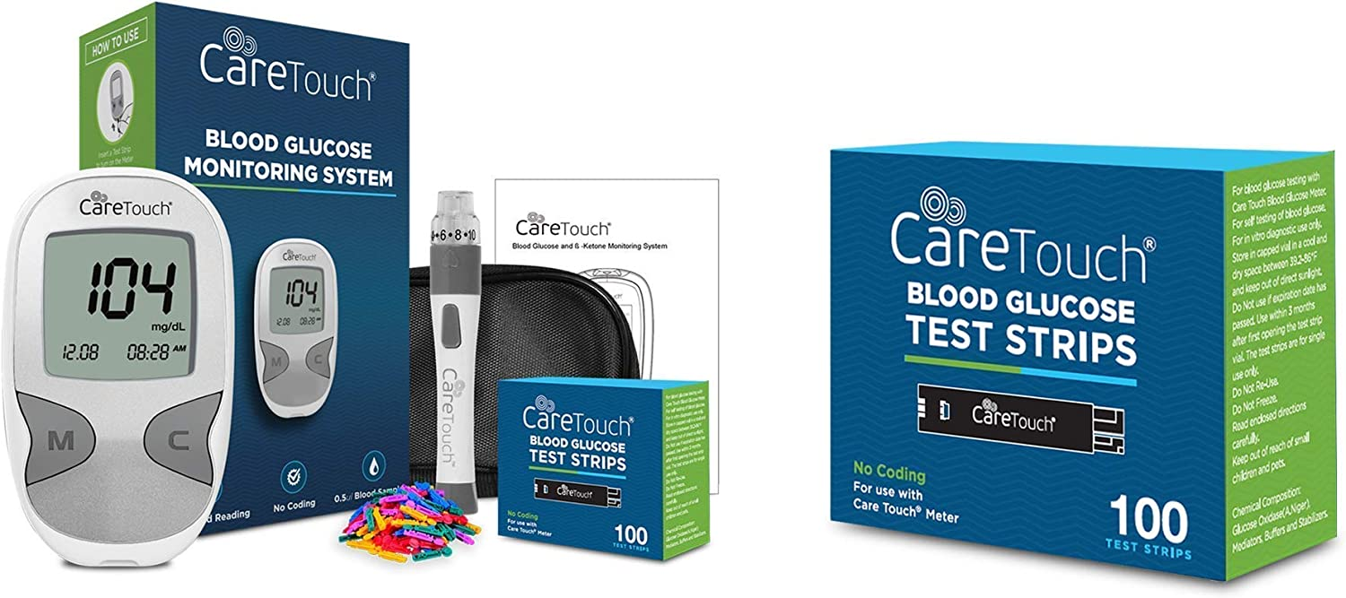 Care Touch Diabetes Testing Kit Bundle + (100) Blood Glucose Test Strips