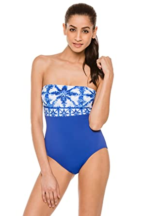 6675ce680f39b Michael Michael Kors Women's Glazed Tile One Piece Bandeau Swimsuit Royal 4