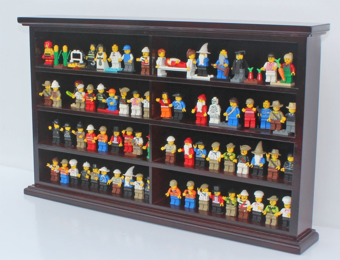 Amazon.com: Kid Safe Minifigures Miniature Action Figures Display Case Wall  Cabinet Stand, Solid Wood (Mahogany): Home U0026 Kitchen