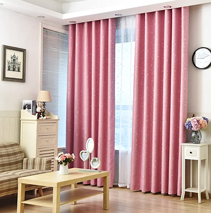 Amazon.com: 1 Pair Grommet Top Pink Curtains for Girls Living Room ...