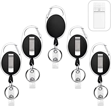 Law and Order Label Retractable Badge Holder Reel Metal ID Badge Holder with Belt Clip Key Ring for Name Card Keychain