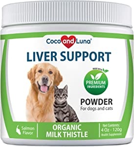 Milk Thistle for Dogs and Cats, Liver Support for Dogs, Detox, Hepatic Support, Promotes Liver Healthy Function for Pets, VIT B1, B2, B6, B12-4 Oz Powder (120g)
