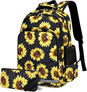 BTOOP School Backpack for Girls Sunflower Backpacks Women Laptop Backpacks College Floral Bookbag for Travel