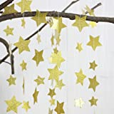 Gold Glittery Star Garland Decoration 5 Meters Elegant Shiny And Sparkling 26 Feet Long Party Background Decor. Great For Christmas, Weddings, Birthday Parties, Bridal Showers, Holidays, Baby Showers.