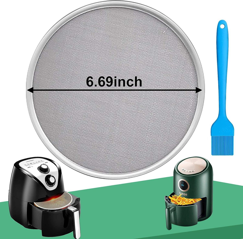 HEISENLIN Grease Splatter Screen for Air Fryer-Premium Round Nonstick Stainless Steel Fine Mesh-99% Stops Hot Oil Splash-Dishwasher Safe-6.69 inches
