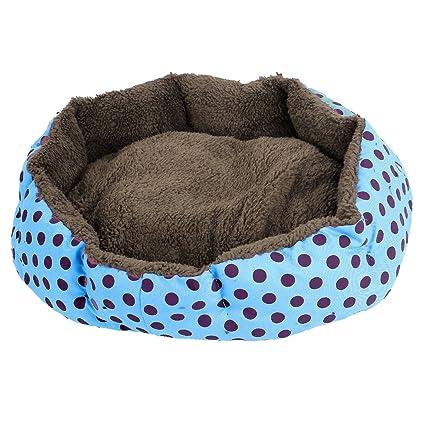 Sourcingmap Dot patrón Pet Forro de Felpa Doghouse Perrera Perro de Cama, Azul/Morado