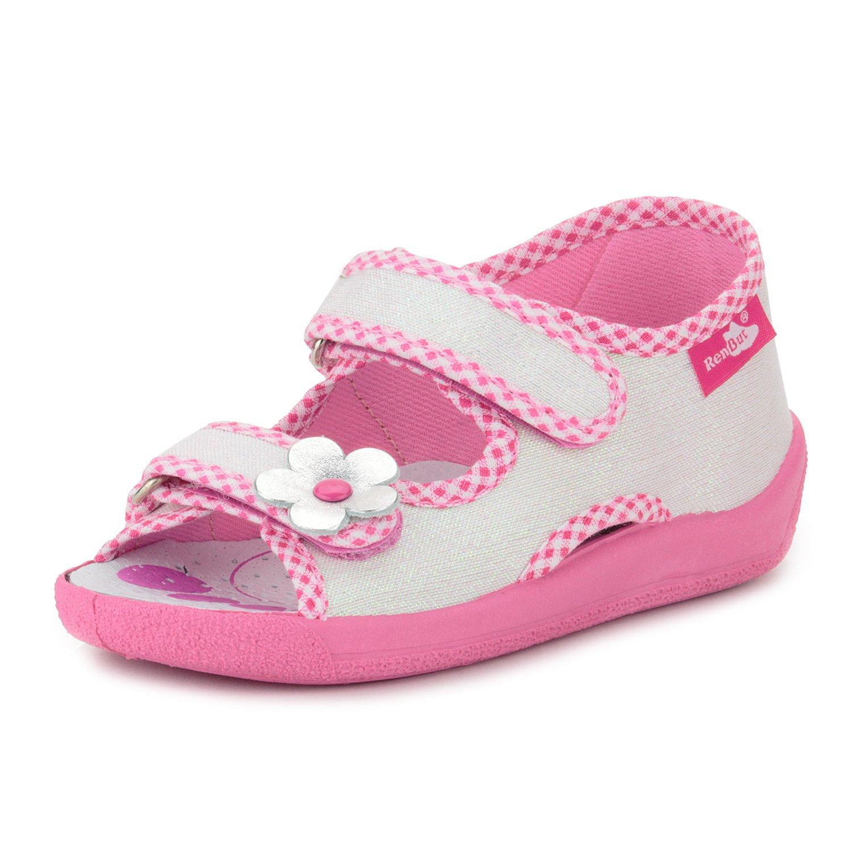 RenBut 13-112 Glitter White Toddler Girls Open Toe Velcro Canvas Sandal, 24 M EU/9 M US Toddler