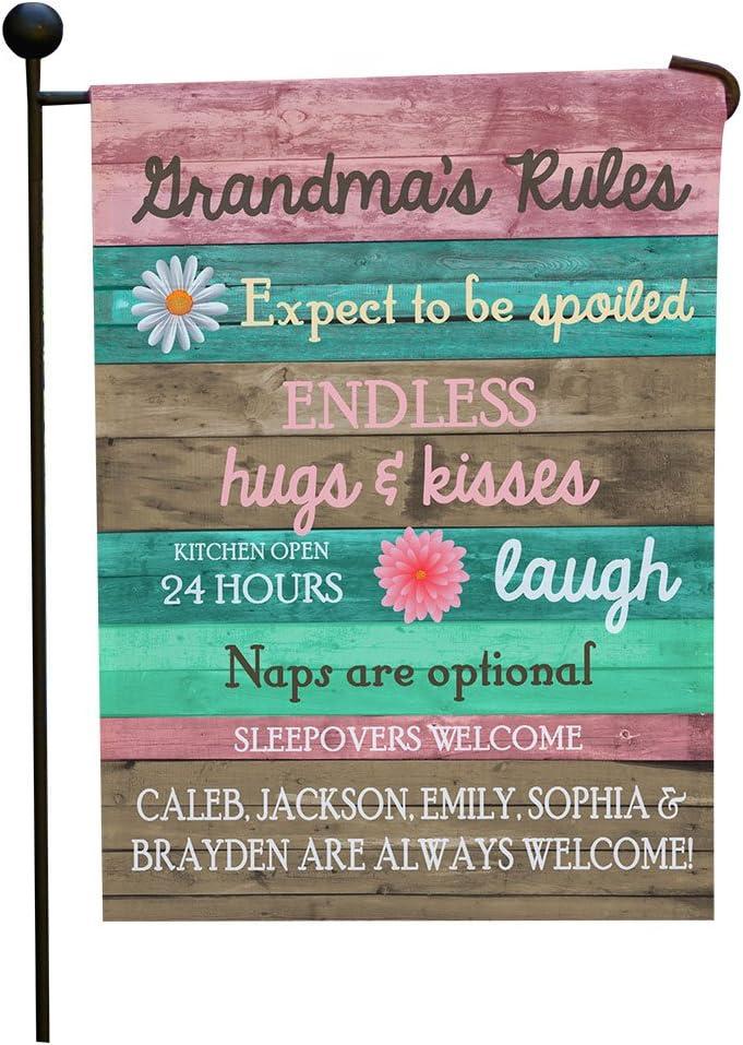 "GiftsForYouNow Grandma's Rules Personalized Garden Flag, Gift for Grandma, Custom Outdoor Decor, 12"" x 18"""