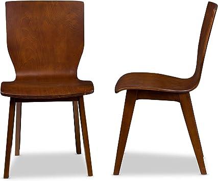 Amazon Com Baxton Studio Set Of 2 Elsa Mid Century Modern Scandinavian Style Bent Wood Dining Side Chairs Dark Walnut Chairs