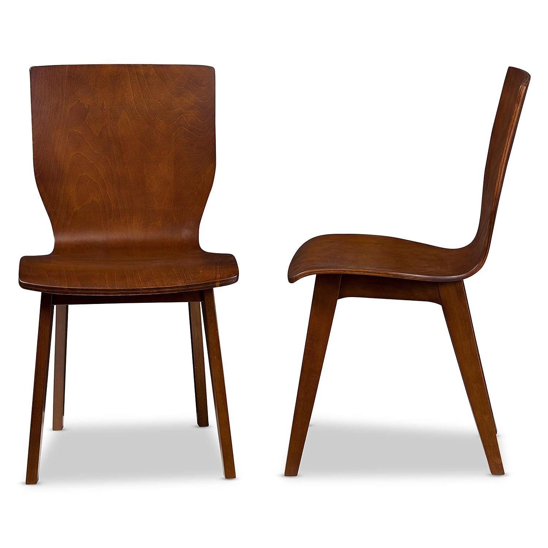 Enjoyable Baxton Studio Set Of 2 Elsa Mid Century Modern Scandinavian Style Bent Wood Dining Side Chairs Dark Walnut Short Links Chair Design For Home Short Linksinfo