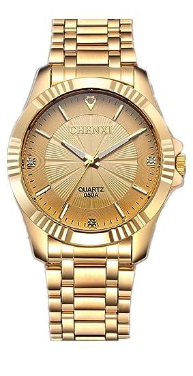 Chenxi reloj cuarzo chapado en oro diamantes de banda de acero inoxidable resistente al agua los
