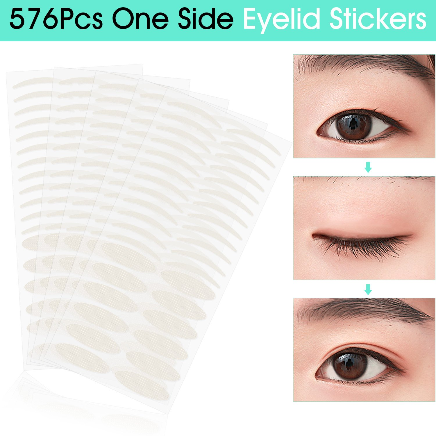 288 Pairs Invisible Fiber One Side Eyelid Tapes Stickers - Instant Eyelid Lift Without Surgery, Perfect for hooded, droopy, uneven, or mono-eyelids (144 Pairs Slim and 144 Pairs Wide) Pormasbenzer