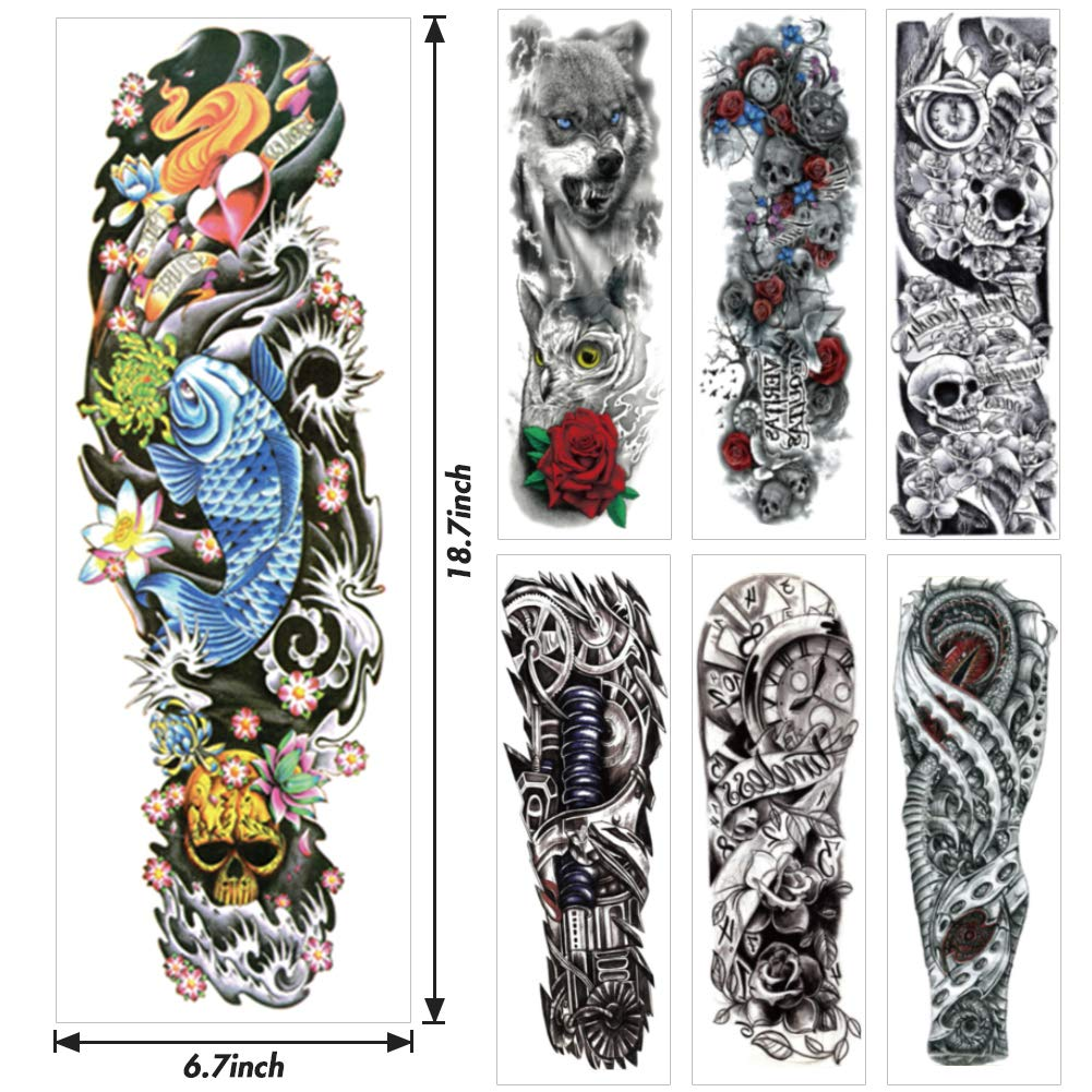 LoveInUSA 14 pcs Temporary Tattoo,7pcs Full Arm Temporary Tattoo 7pcs Extra Temporary Tattoo Flash Fake Waterproof Body Tattoos Stickers