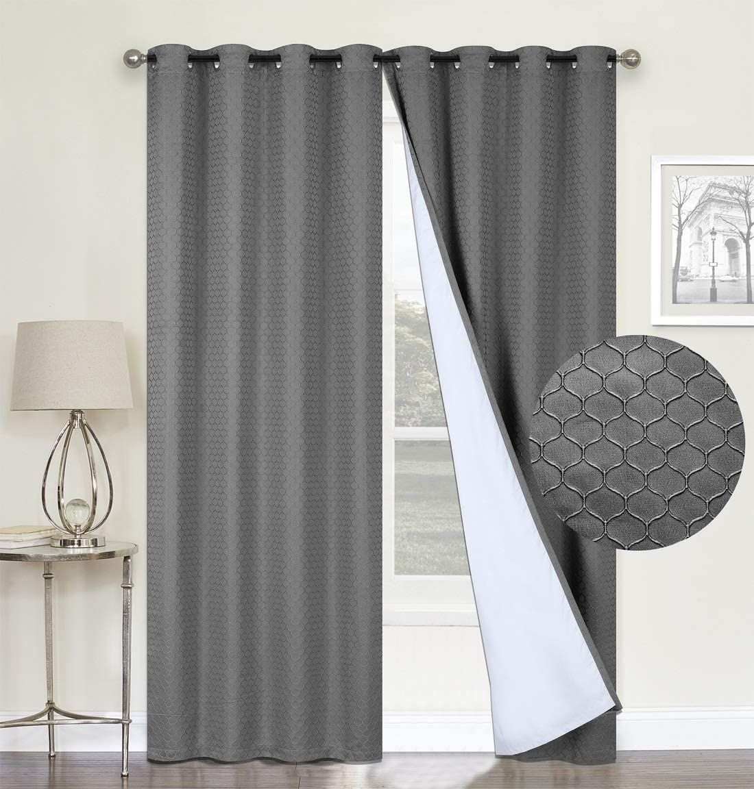 100 Blackout Curtains,Grey Double Layer Lined,Heat and Full Light Blocking Drapes with White Liner for Nursery, 96 inches Drop Thermal Insulated Draperies Charcoal Grey, 52 x 96